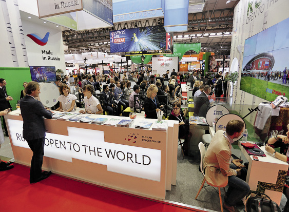 The Russian exhibition stand at the IBTM International Exhibition in Barcelona.