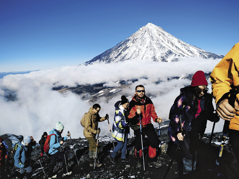 The ascent and descent of Avacha Volcano take around ten hours.
