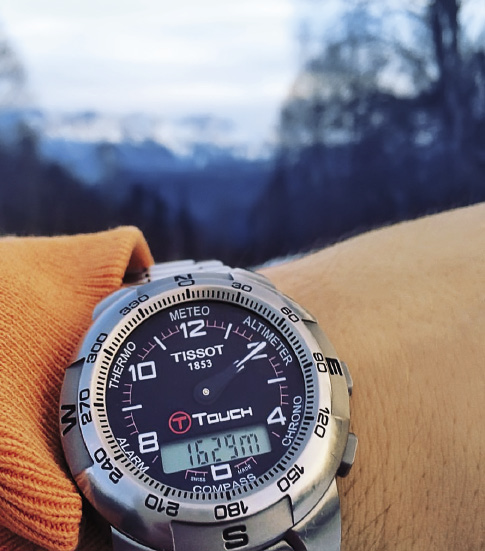 Starting the Oshten ascent, the altimeter shows a height of 1,629m.